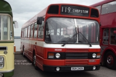 The Leyland National 2 was, in many respects, what the LN should have been from the beginning. The troublesome 500 series engine was replaced with a derivative of the Leyland 680, together with the option of a Gardner 6HLXB; and the radiator has been moved to the front, which would have improved the weight distribution as well as the cooling. These 3 buses were of the short variety, but the extra length created by the front mounted radiator meant that they were around 35' long, so only marginally shorter than an RELL. A simplified heating system, that had already been available in the short B series version of the mark 1 National, means that the distinctive pod on the roof rear is no longer required.