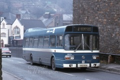 Jones N1174 (GHB682N) shows the blue livery, unique to this NBC subsidiary, as it climbs at Aberbeeg Junction on service 4 from Ebbw Vale to Newport
