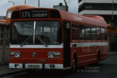 Red & White N475 (GHB687N) in Cardiff Bus Station, displaying a 'Leyland National peculiarity' - the tendency for destination blinds to slip. Of course, it may be that the driver had not positioned the blind correctly, but the slippage was a known problem, that sometimes confused passengers if it slipped too far! The 175 service operated between Cardiff and Hirwaun/Neath or Swansea via Aberdare, and the staff at Aberdare had already agreed to one-person-operation of large single deckers by 1975, unlike their colleagues in the Monmouthshire valleys who would not consider OPO for any vehicle with more than 45 seats.