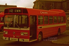 Western Welsh NS175 (KDW323P) is seen here shortly after entering service, while on hire to Red & White. The location is Brynmawr Bus Station. In view of the large number of short single deckers in all of the constituent fleets, it is surprising that so few short Nationals were purchased. An Agfa slide that had deteriorated over the years, KDW looked rather purple before some work in Photoshop! There are probably not many services where the route number is just as long as the name of the terminus!