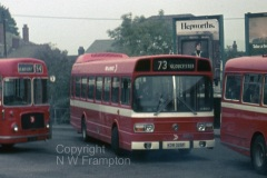 Western Welsh NS375 (KDW325P) was another vehicle that spent the first couple of years of its life on hire to Red & White. Here it is seen at Chepstow Bus Station, surrounded by its elders - and betters!! The 73 service from Cardiff to Gloucester had been a mainstay of the 1971 Bristol RESLs, so that a short National was at least a similarly sized replacement, but little compensation for the loss of the music of a Leyland 680 engined RE!