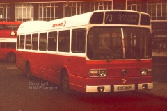 Western Welsh ND5275 (KDW360P) was another of the swapped NDs from the 1975 that went to Red & White from new. Here it is seen (just about!) in a very gloomy Cardiff Bus Station, working on the long service 73 to Gloucester.