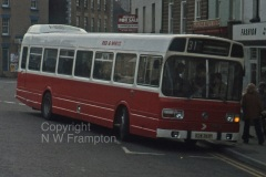 Western Welsh ND5575 (KDW363P), the last of the 1975 NDs, was also swapped and ran for Red & White. Seen here at Coleford Square, working on service 31 to Gloucester. Service 31 had previously been a Lodekka operation, and in the 'post Leyland National' era it reverted to double deck operation - prompting one to question the suitability of the LN as a 'universal bus', as they seemed to be regarded by the WW/R&W/Jones group. Within a year or so of taking this photograph, the view would have changed to show a Welsh fleetname, although this is the nearest point that the route came to Wales, and the border is still 3 or 4 miles away!
